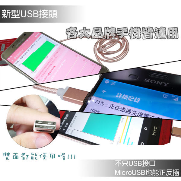 ☆Micro USB 玫瑰金編織充電線/傳輸線/Sony Xperia C3 D2533/C4 E5353/C5 E5553