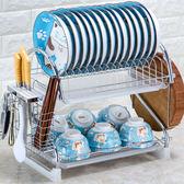 瀝水架瀝水架碗架碗筷廚房用品控水雙層放碗碟盤架收納架刀架廚房置物架jy