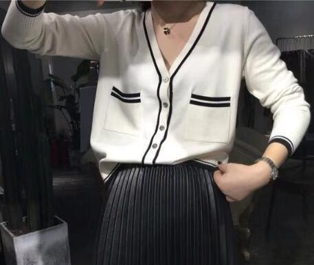時尚休閒針織上衣XL-4XL小香風針織開衫秋季針織衫外套開衫紐扣毛衣R01-5215