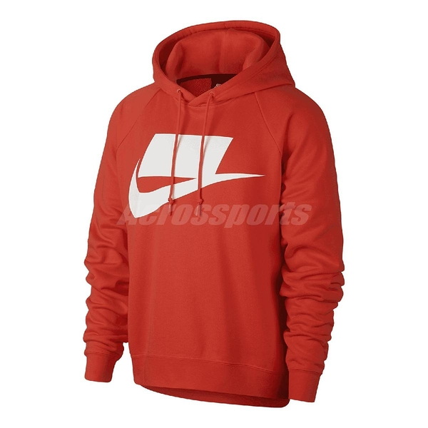 Nike 連帽T恤 NSW Hoodie French Terry 橘紅 白 男款 【ACS】 AR4855-696