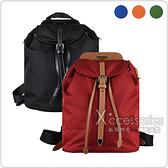 PRADA三角牌LOGO尼龍搭配小牛皮飾邊抽繩/扣式後背包(多色)