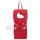 〔小禮堂〕Hello Kitty 厚棉掀蓋吊掛面紙套《紅.大臉》面紙盒.紙巾套 4714781-76415
