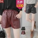 【五折價$330】糖罐子車線口袋縮腰皮革短褲→現貨(S-L)【KK6214】