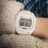 學生考試電子手表戶外運動男女孩帶鬧鐘報時夜光初中高中生白色款