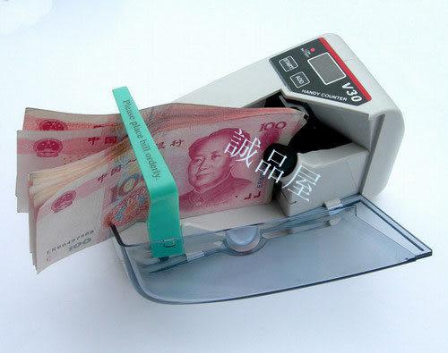 0073.{V-30點鈔機}迷你型可攜式數鈔機驗鈔機,台幣美金歐元人民幣年終禮券銀行適用