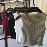 針織背心 2019春夏新款韓版性感短款露臍排扣開衫針織小背心