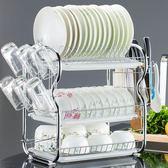 碗架  三層廚房置物架兩層瀝水碗碟架放碗筷瀝水架碗架收納架子碗盤用品【星時代女王】