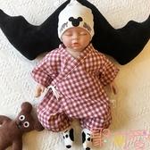 寶寶系帶連體衣夏季爬服薄純棉紗布和服格子短袖哈衣男女【聚可愛】