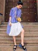 復古條紋撞色拼襯衫中袖寬鬆百褶連身裙 衣普菈