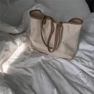 大容量側背包休閒女包簡約撞色帆布包手提布包購物袋【小酒窩服飾】