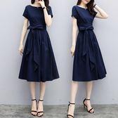 限定款大尺碼女裝(S-5L)夏裝新品免運時尚修身顯瘦中長款氣質收腰大尺碼洋裝