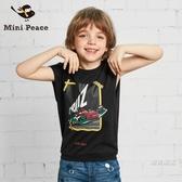 背心童裝男童背心黑色寬鬆小汽車印花兒童無袖上衣2018夏裝新品