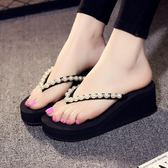 新款涼拖鞋女夏時尚百搭外穿人字拖女厚底坡跟沙灘鞋鬆糕鞋【七夕情人節】