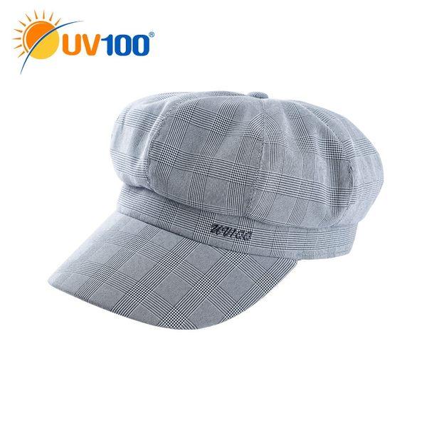 UV100 防曬 抗UV-極簡舒柔格紋貝雷帽