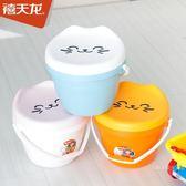 桶凳嘟嘟圓塑料收納兒童凳儲物凳小卡通玩具可坐凳子收納箱【快速出貨】