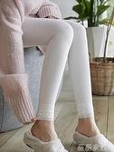 蕾絲打底褲 日系蕾絲花邊九分打底褲子女秋冬季加薄絨螺紋灰色顯瘦春秋燕麥白