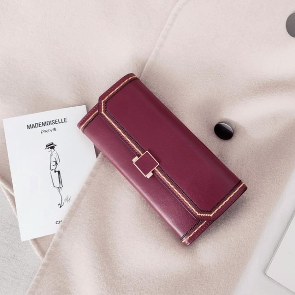 牛皮錢包女長款新款韓版學生簡約復古搭扣大容量手機皮夾 毅然空間