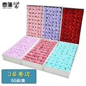 七夕3層卷邊玫瑰香皂花頭三層肥皂花頭花束禮盒制作伴手禮裝飾