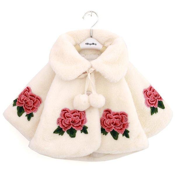 兒童禮服斗篷披風女寶寶斗篷外套女童公主雙色仿皮草披肩 蘇迪蔓