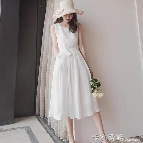 夏季新款白色無袖蕾絲甜美長洋裝