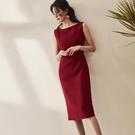 職業洋裝 職業OL連身裙女夏裝氣質酒紅色修身知性中長款通勤裙子-Ballet朵朵