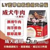 買就送1LB1包 - LV藍帶無穀濃縮天然狗糧-5LB(2.27kg) - 成犬-大顆粒 (牛肉+膠原蔬果)