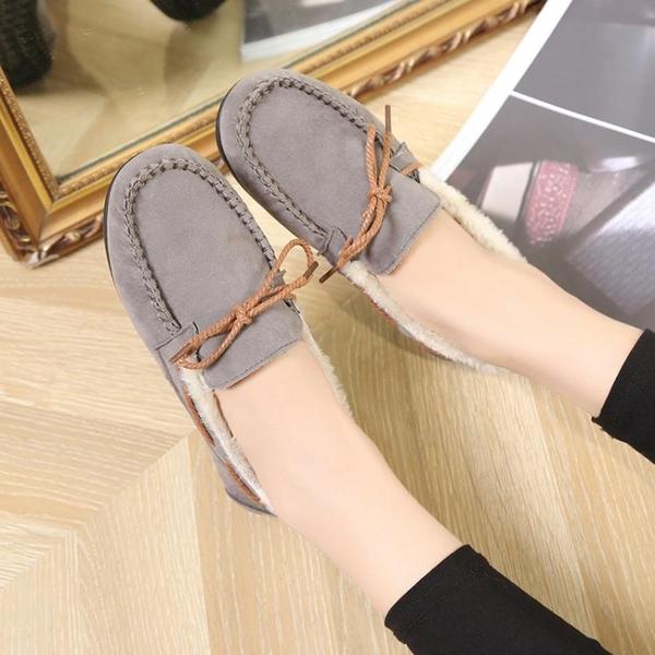 豆豆鞋 新款懶人棉鞋女冬季保暖加絨韓版低幫毛毛鞋平底豆豆鞋女鞋