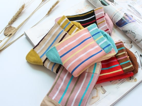 [協貿國際]彩色條紋全棉短襪