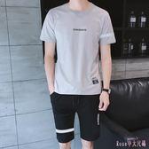 大碼運動套裝 男士2019夏季棉質短袖t恤五分短褲跑步訓練服兩件套潮 DR25790【Rose中大尺碼】