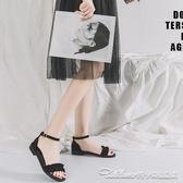涼鞋女新款仙女風一字帶平底低跟夏季學生涼鞋海邊女百搭度假 阿卡娜