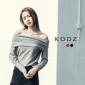 東京著衣【KODZ】歐美時髦微性感一字領多色針織上衣-S.M.L(171878)
