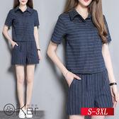 棉麻短袖上衣+闊腿短褲 S-3XL O-Ker歐珂兒 145581(148628)-C