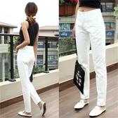 白色牛仔長褲女2020夏季新款韓版顯瘦高腰寬鬆直筒休閒九分哈倫褲 酷男精品館