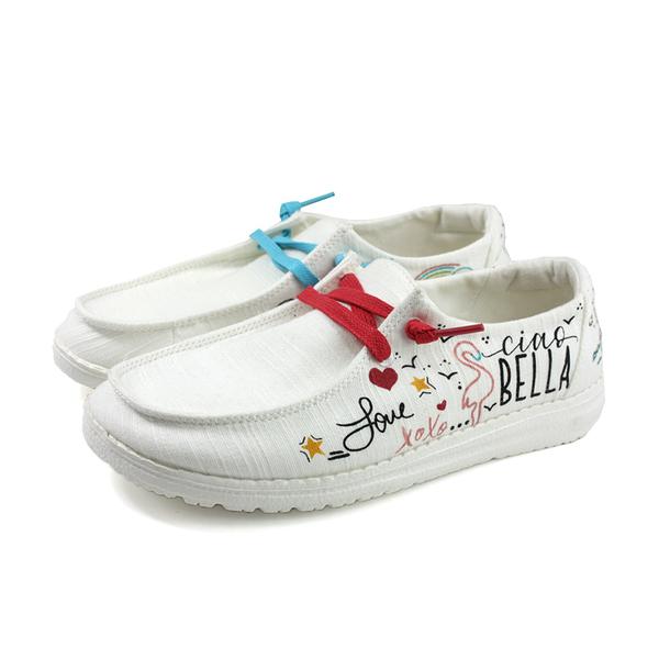 Hey Dude 休閒鞋 帆船鞋 帆布 手繪風格 女鞋 白色 HD1901-858 no004
