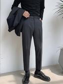 西裝褲男垂墜感西褲九分褲男夏季修身百搭直筒休閒褲子韓版潮流港風西裝褲新品