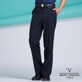 【Emilio Valentino】范倫鐵諾專櫃嚴選深藍細條紋平面西褲- 深藍細條紋