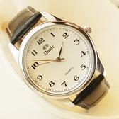 (交換禮物)超薄時尚潮流手錶男士皮帶韓版女士錶防水學生石英錶夜光情侶腕錶