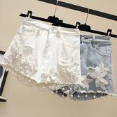 刺繡牛仔短褲女夏新款寬鬆破洞闊腿大碼胖mm200斤高腰a字熱褲     芊惠衣屋