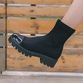 馬丁靴 襪靴彈力靴子女短靴踝靴鬆糕厚底馬丁靴女夏 igo【韓國時尚週】