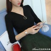 毛衣 秋季韓版純色修身顯瘦拉鏈V領打底毛衣針織衫女裝   艾美時尚衣櫥