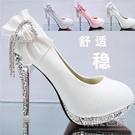 婚鞋女防水台水晶高跟鞋細跟單鞋中跟紅色新娘鞋紅鞋結婚鞋子 尺碼:34-41