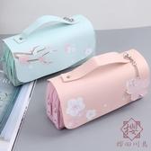 雙層雙拉鏈大容量手提筆袋女簡約文具袋【櫻田川島】
