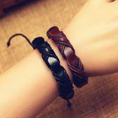 韓國朋克皮革飾品手鍊手鐲手繩纏繞編織時尚韓版歐美男潮女款情侶