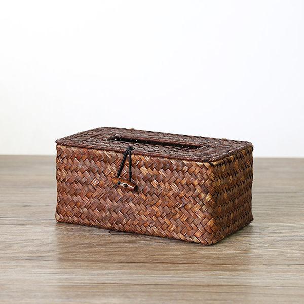 家好點 創意手工草編非藤編面巾盒 車載面巾盒 抽紙餐巾盒【慶新年全館免運】