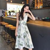 無袖洋裝 圖騰 印花 露背 綁帶 吊帶 洋裝 連身裙【MY0191】 BOBI  08/09