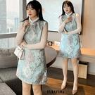 (現貨+預購 FUWAFUWA)-- 加大尺碼中國風毛領旗袍背心裙無袖洋裝