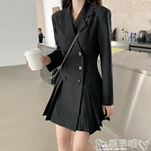 西裝連身裙西裝連身裙女裝春秋季冬2021新款黑色收腰顯瘦小黑裙長袖氣質裙子 嬡孕哺 上新 新品