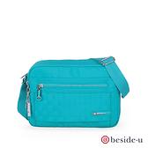 BESIDE-U FOCUS 防盜刷時尚嬌點 棋盤格紋斜背包側背包-勁藍色 原廠公司貨