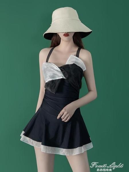 韓國ins遮肚顯瘦2020新款小胸性感泡溫泉連身泳衣女 果果輕時尚