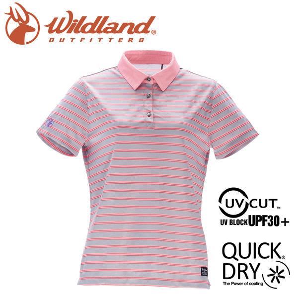 【Wildland 荒野 女 涼感抗UV條紋POLO上衣《灰》】0A71601/運動衣/吸濕排汗/短袖/polo衫